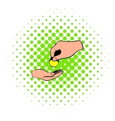 A hand giving a coin icon comics style vector image vector image