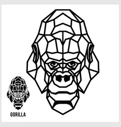 abstract linear polygonal head a gorilla vector image
