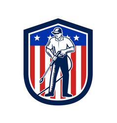 American pressure washing usa flag shield retro vector