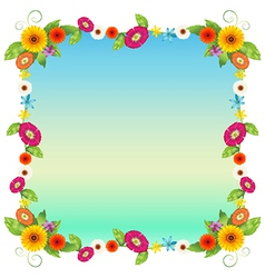 An empty blue template with colourful flowers vector image