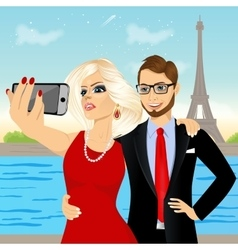 attractive couple taking selfie photo vector image