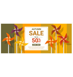 Autumn sale banner with colorful pinwheels vector