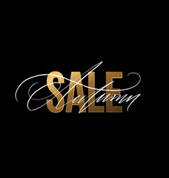 autumn sale gold glitter sign in black background vector image