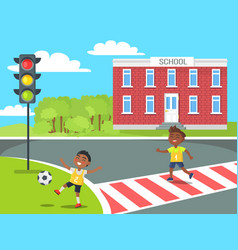 banner of kids near school in cartoon style vector image