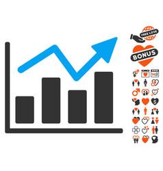 bar chart trend icon with valentine bonus vector image