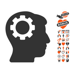Brain gear icon with dating bonus vector