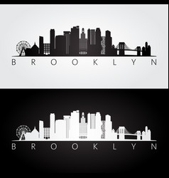 brooklyn new york city usa skyline and landmarks vector image