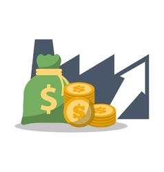 business financial growth bag money coins vector image