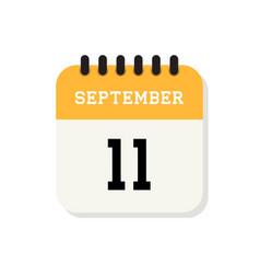 Calendar 11th september flat icon on white vector