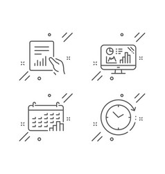 Calendar graph document and analytics graph icons vector