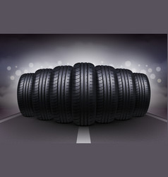 Car tires on night roadway vector
