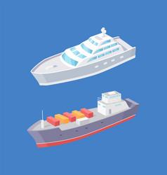 Cargo ship passenger liner marine vessels vector