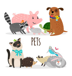 cartoon character groups of pets isolated vector image