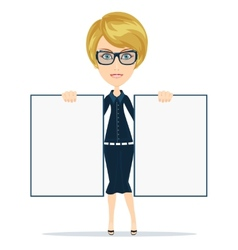 Cartoon teacher businesswoman in glasses holding vector image