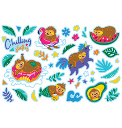 Chilling sloths in cartoon style sticker set vector