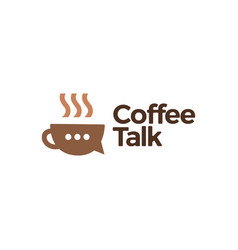 Coffee talk chat bubble logo icon vector