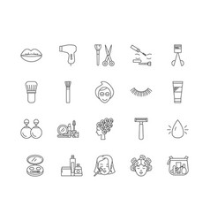 cosmetologist line icons signs set vector image