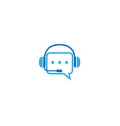 creative bubble headphone microphone logo vector image