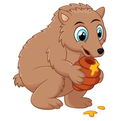 Cute cartoon bear holding honey pot vector