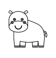 cute hippo animal isolated icon vector image