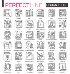 design tools outline mini concept symbols graphic vector image