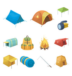 different kinds of tents cartoon icons in set vector image