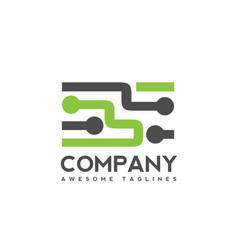 Digital electronics logo design creative electron vector