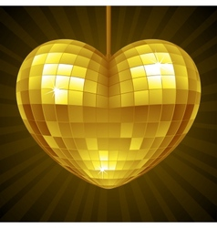 Disco Heart Yellow mirror disco ball vector image