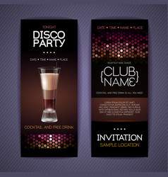 Disco invitation to cocktail party vector