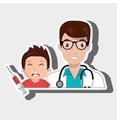 Doctor child stethoscope syringe vector