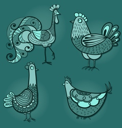 Drawing of the rooster and three chickens vector