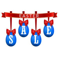 easter egg sale 3d banner set red ribbon bow vector image