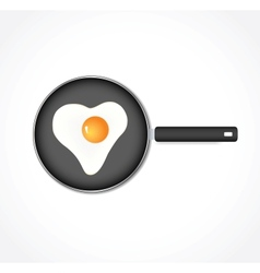 Egg in a pan in the form of heart vector image vector image