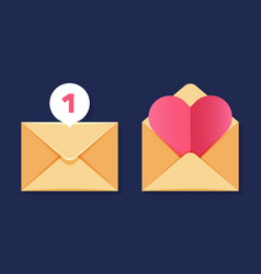 envelopes icons close and open vector image