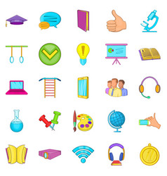 Excellent pupil icons set cartoon style vector