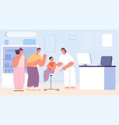 family on hospital kid vaccination doctor check vector image
