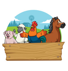 farm animals with blank wooden space vector image