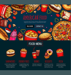 fast food menu with takeaway dishes and drink vector image