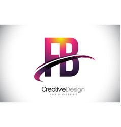 Fb f b purple letter logo with swoosh design vector