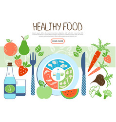 Flat healthy food concept vector