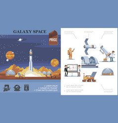 flat space exploration concept vector image