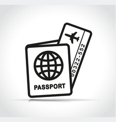 flight ticket and passport icon vector image