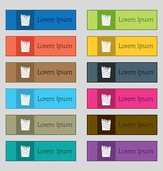 Fry icon sign Set of twelve rectangular colorful vector