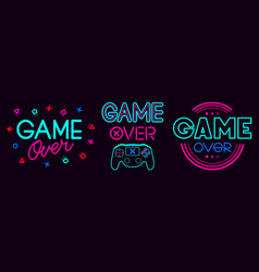 game over signs computer video death screen vector image