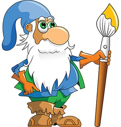 Gnome with paintbrush vector