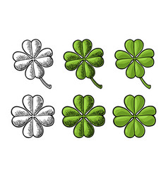 good luck four leaf clover vintage color vector image