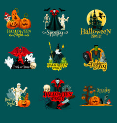 halloween trick treat night party icons vector image