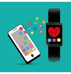 Hand hold smartphone smart watch healthcare app vector