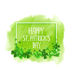 Happy st patricks day green watercolor background vector