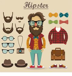Hipster character and hipster elements vector image